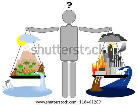 Man holding scales deciding what kind of life to choose - stock vector
