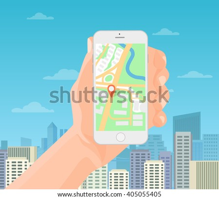 Man holding smartphone in hand with mobile gps navigation map on the modern city background. Vector illustration. - stock vector