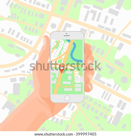 Man holding smartphone in hand with mobile gps navigation map Vector illustration. - stock vector