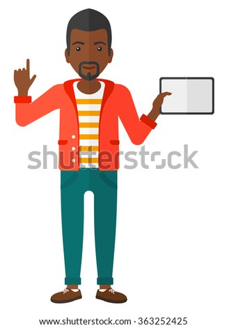 Man holding tablet computer. - stock vector