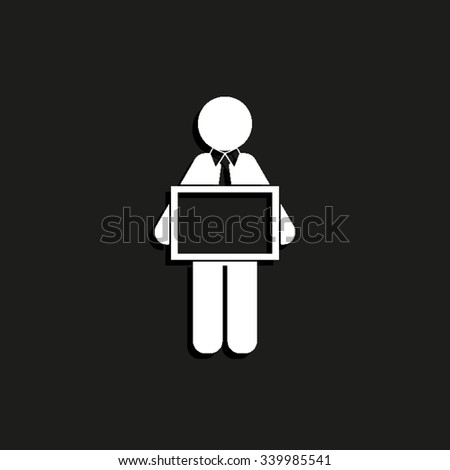 man holding tablet - vector icon