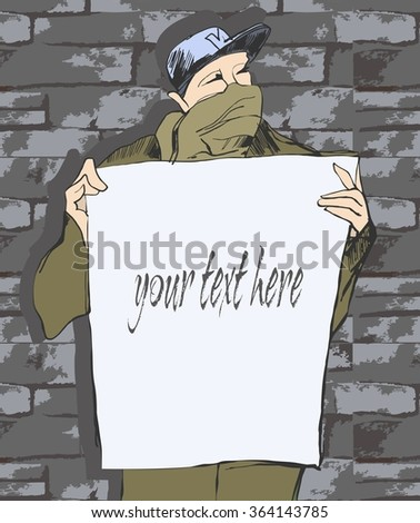 Man holds a banner. Young man with a shawl on his face holds a banner and protests against something  - stock vector
