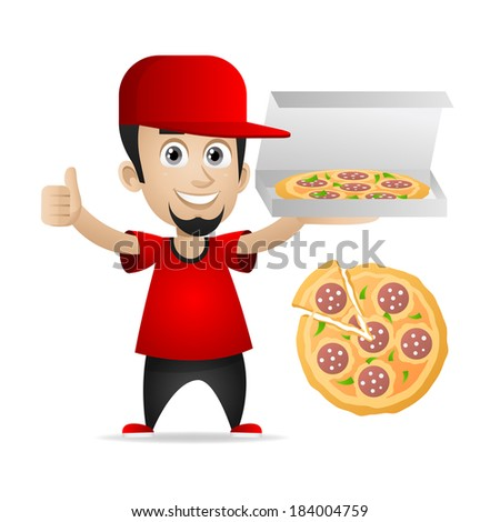 Man holds pizza and showing thumbs up - stock vector