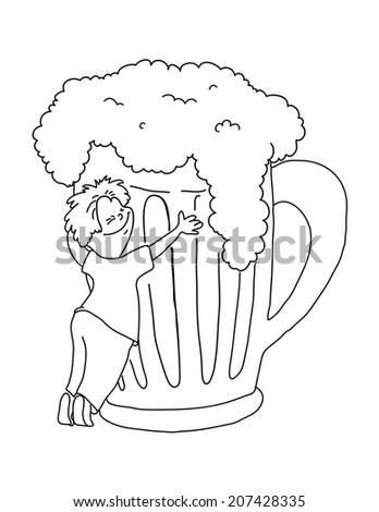man hugging a mug of beer, cartoon vector illustration - stock vector