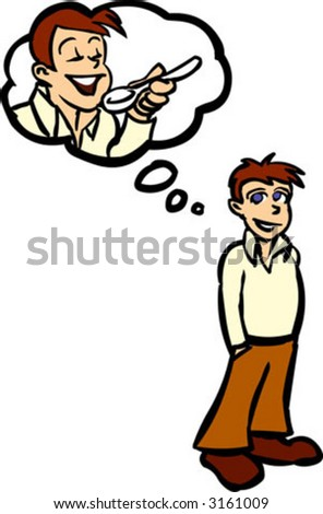 Man hungry - stock vector