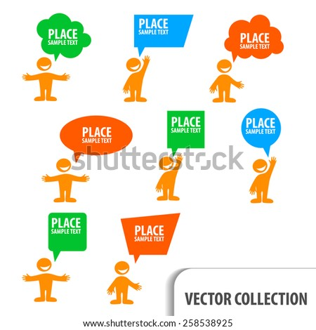 man icon with colorful dialog speech bubbles - stock vector