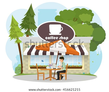 man in a cafe in the park working on a laptop. vector. summer cafe. - stock vector