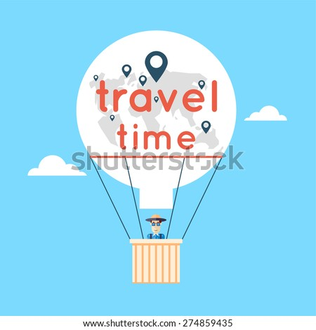 Man in a hot air balloon and clouds. World Travel. Planning summer vacations. Summer holiday. Tourism and vacation theme. Flat design vector illustration. - stock vector