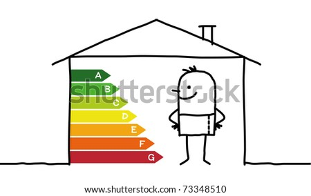 man in a low-power house - stock vector