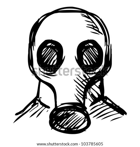 Man in a respirator. Hand drawing sketch vector illustration - stock vector