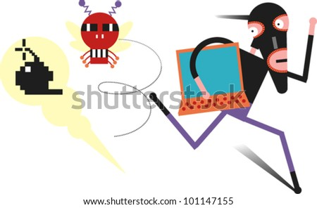 Man in a stocking mask runs from a computer virus and a time bomb - stock vector