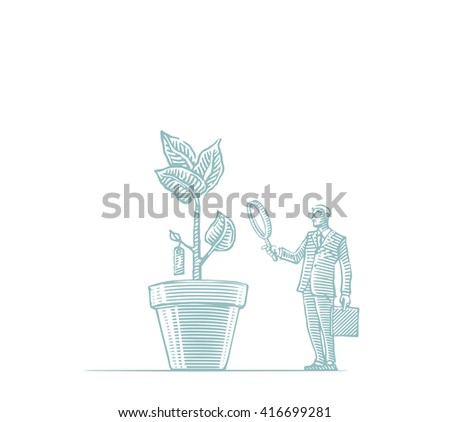 man in a suit and tie, sunglasses with a suitcase in a pot with a tree and magnifying glass - stock vector
