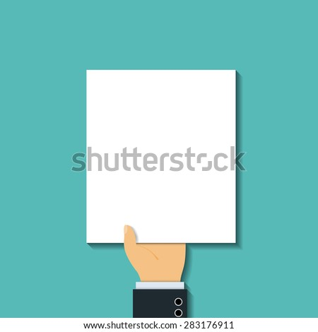 Man in a suit holding a blank sheet. Flat graphics. The tax return. Vector Image Stock. - stock vector