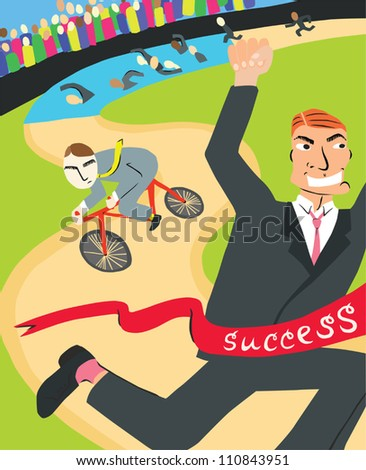 Man in a Suit Winning Business Triathlon - stock vector
