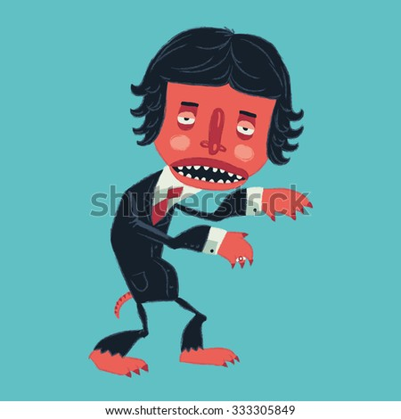 Man in a suit zombies on Halloween party. Vector illustration - stock vector