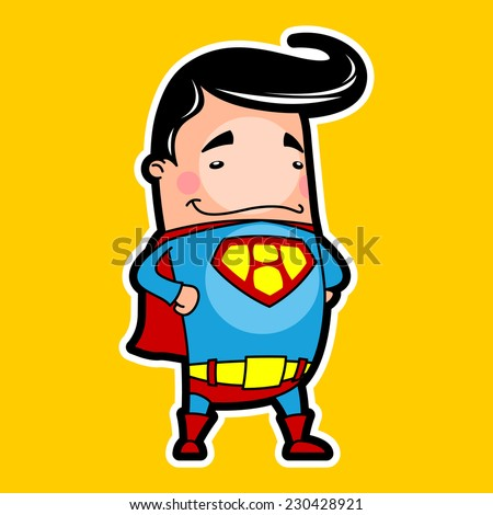 man in a super hero costume on a orange background - stock vector