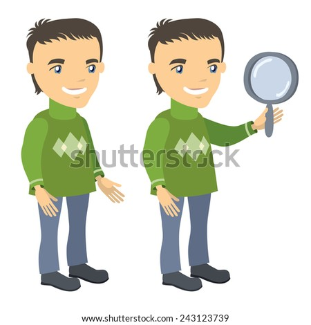 man in a sweater stands and holds magnifying glass - businessman cartoon character series of drawings - stock vector