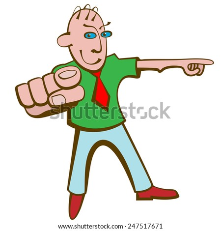 Man in a tie pointing you the way. - stock vector
