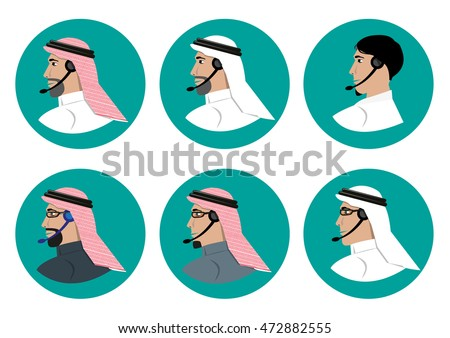 Man in Arabian Traditional Costume with Phone Earpiece. Different Faces and Clothing Mix of a Call Center Employee of Arab origin. Editable Clip Art.