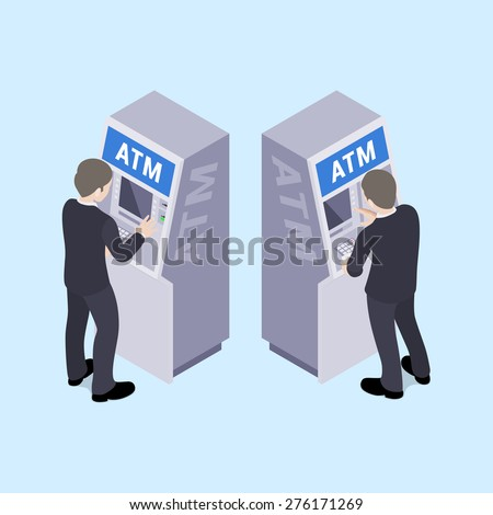 Man in black suit near the ATM. Illustration suitable for advertising and promotion - stock vector