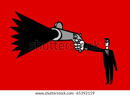 Man in black suit shoots, foreshortened - stock vector