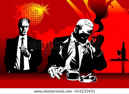 man in black suit sitting at the bar with a glass of whiskey - stock vector