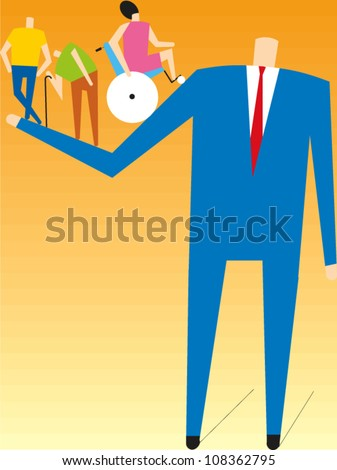 Man in business suit holding three small figures, an elderly man with a cane and a woman in a wheelchair - stock vector