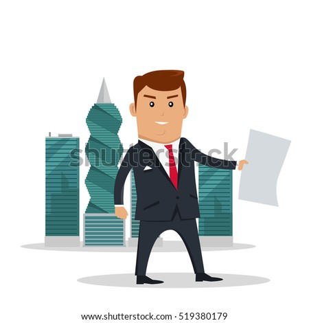 Man in business suite with sheet of paper on panama-city skyscrapers background. Public corruption disclosure. International financial investigation concept. Offshore documents scandal illustration.