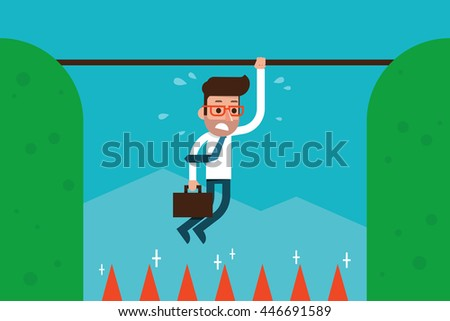 Man in business trap. - stock vector