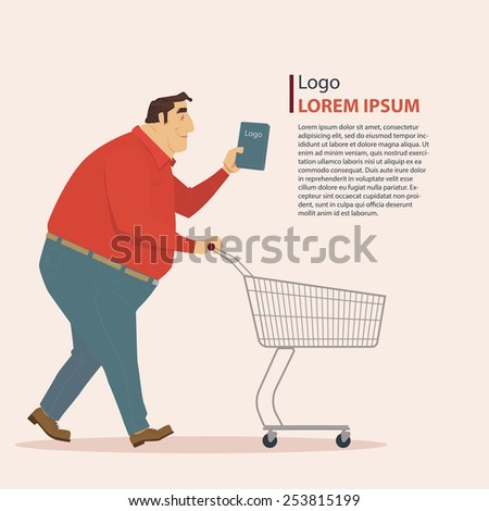 Man in casual wear with shopping cart, vector illustration. - stock vector