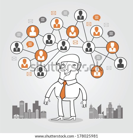 Man in computer network. Concept of communication, teamwork. The man on the background of the city surrounded by abstract computer network and people icons - stock vector