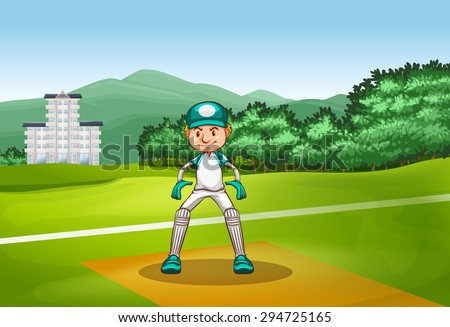 Man in cricket uniform playing in the field - stock vector