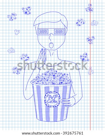 Man in 3D glasses eating delicious popcorn from a big striped carton  box. Falling popcorn. Drawn in pen - stock vector