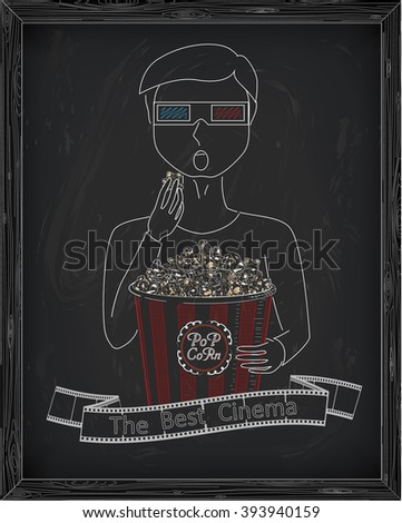 Man in 3D glasses eating delicious popcorn from a big striped carton  box. Reel of film with inscription. Drawn in chalk - stock vector
