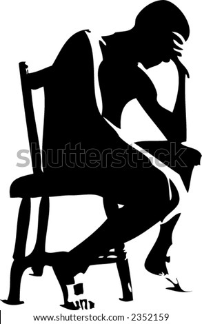 Man in deep thought vector - stock vector