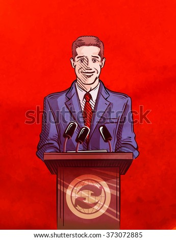 man in front of a microphone. vector illustration - stock vector