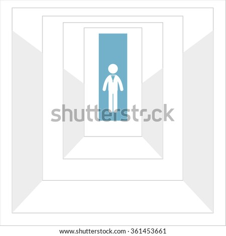 man in front of the entrance to the maze. Vector. - stock vector