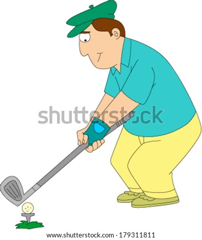 Man in golf clothes and hat teeing off on golf course - stock vector