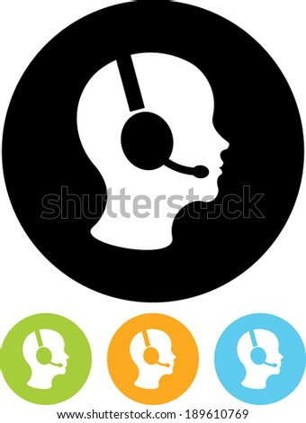 Man in handsfree headset vector icon - stock vector