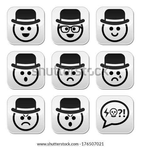 Man in hat faces vector buttons set - stock vector