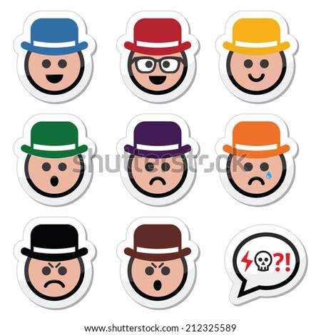 Man in hat faces vector icons set - stock vector