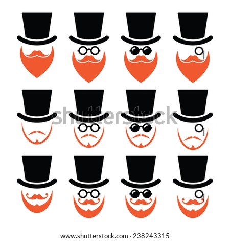 Man in hat with ginger beard and glasses icons set - stock vector