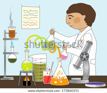Man in lab coat working with microscope, Bunsen burner, various glass containers./In the Lab - stock vector