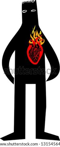 Man in love - stock vector