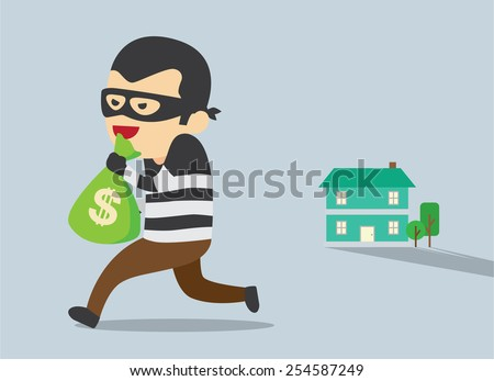 Man in mask trying to steal money form house - stock vector