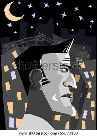 man in night city - stock vector