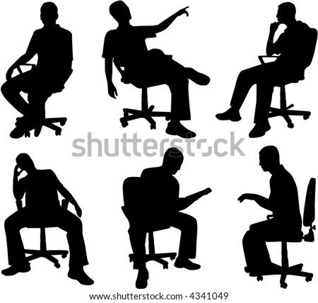 Man in position sitting , vectors work - stock vector