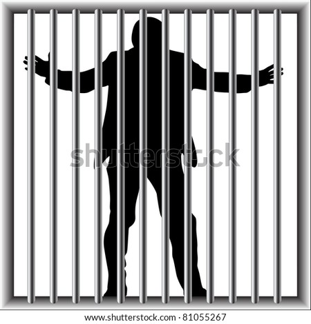 man in prison - stock vector