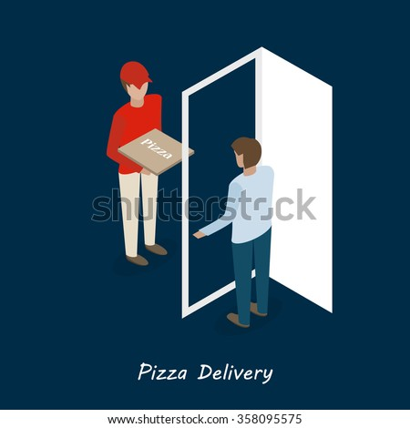 man in red pizza delivery isometric flat vector illustration  - stock vector
