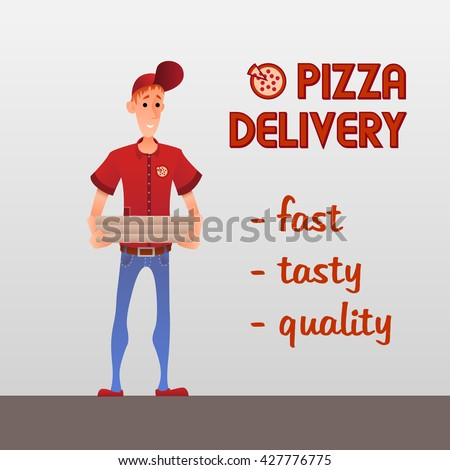 """Man in red uniform with pizza boxes. Vector illustration """"Pizza delivery"""". Cartoon style. Easy to edit. For fast food business. - stock vector"""